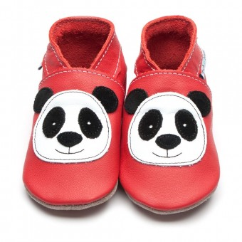 Inch Blue Panda Red Baby Leather Shoes (6-12m)