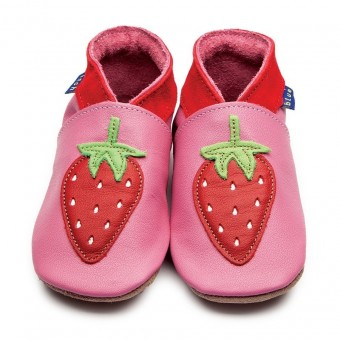 Inch Blue Strawberry Rose Pink Baby Leather Shoes (6-12m)