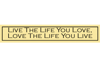 """Live the Life You Love, Love the Life You Live"