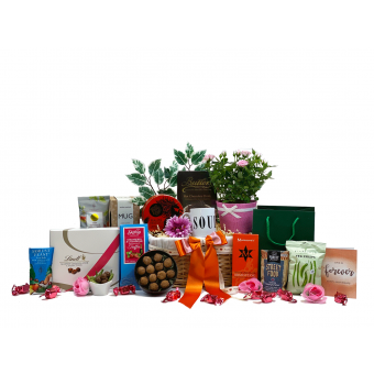 Anniversary flowers and Treats Gift Basket