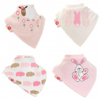 Ziggle Bandana Bibs 4 Pack Cute Pinks