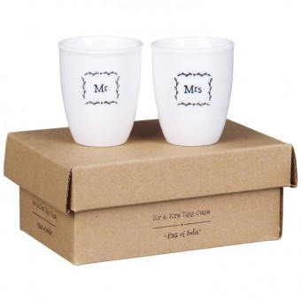 East Of India Mr & Mrs Egg Cup Set