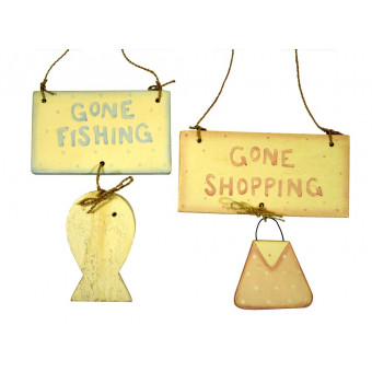 Gone Fishing/Shopping Wooden Sign