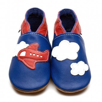 Inch Blue Aeroplane Clouds  Baby Leather Shoes (6-12m)