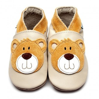 Inch Blue Teddy Cream Baby Leather Shoes (6-12m)