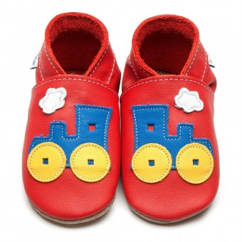 Inch Blue Toot Train Red Baby Leather Shoes (6-12m)