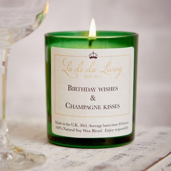 'Birthday Wishes and Champagne Kisses' Candle